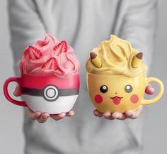That pikachu mug is so adorable! And I love the strawberry pokeball one, too 😋 design mit eis rezept rezept einfach recipe milchshake Kreative Snacks, Kreative Desserts, Dessert Drinks, Fun Drinks, Yummy Drinks, Comida Disney World, Yummy Treats, Yummy Food, Colorful Drinks