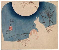 Utagawa Hiroshige: Two Rabbits, Pampas Grass, and Full Moon - Legion of Honor