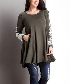 Another great find on #zulily! Olive Lace Appliqué Swing Tunic - Plus by Reborn Collection #zulilyfinds