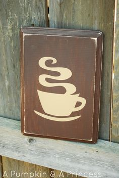 Distressed Coffee Sign- easy diy project with the help of silhouette
