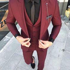 Custom Made Groom Wedding Tuxedos Groomsmen Burgundy Slim Suits Fit Best Man Suit Men's Suits Bridegroom Groom Wear (Jacket+Vest+Pants) 14 suits men Maroon Suit, Burgundy Suit, Maroon Tuxedo, Maroon Prom Tux, Men's Suits, Cool Suits, Cool Prom Suits, Fitted Suits, Graduation Suits