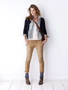 ankle boots + blue socks + khaki pants + white tank + blue gingham shirt + 7f13be3c3