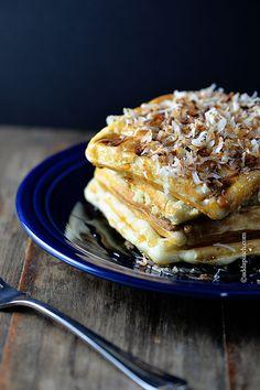 Coconut Lime Waffles Recipe - Add a Pinch Cream Pie Recipes, Waffle Recipes, Brunch Recipes, Breakfast Recipes, Dessert Recipes, Microwave Recipes, Yummy Recipes, Kokos Desserts, Coconut Desserts