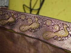 Olive Green Maroon Gold, Brocade Silk Sari Border, Jacquard Weaving Border, Lace. Border has Olive Green Peacock all over and Trim is approx 2 inches wide. . This stunning lace can be used for...