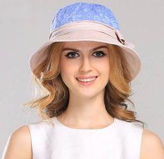 Lace flower bucket hat for women bow package sun hats