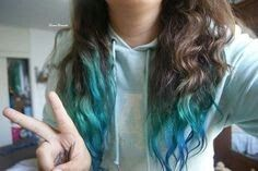 Brown,Turquoise and Teal Ombre` Hair