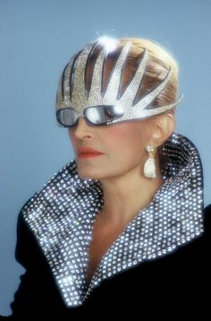 """Dalida wearing Alain Mikli sunglasses - 1985.  Sadly, this resembles most of the """"Glamour Shots"""" made during the subtle eighties."""