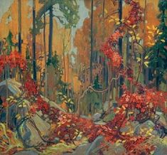 """Autumn's Garland"" - by member of the Group of Seven Canadian painters, Tom Thomson. Canadian Painters, Canadian Artists, Landscape Art, Landscape Paintings, Canada Landscape, Tree Paintings, Forest Landscape, Watercolor Landscape, Tom Thomson Paintings"
