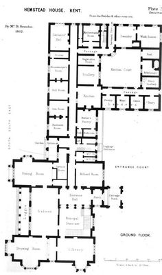 Discussion of Historical Great House Kitchen Design Courtyard House Plans, House Floor Plans, Mansion Plans, Regency House, Architecture Plan, English Architecture, Residential Architecture, English Manor Houses, Long House