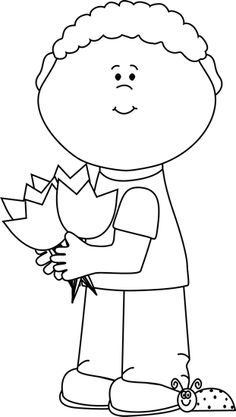 Black and White Boy with Spring Tulips Clip Art - Black and White Boy with Spring Tulips Image