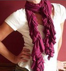 tutorial for this absolutely fantastic, easy, and cheap scarf!  made of tshirt weight, jersey material and 2 yrds. makes 4-6 scarves, so make one for you and several for gifts!