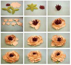Bits of Paper: 3D Columbine & Lisianthus Paper Flowers