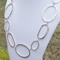 Silver Hammered Chain Link Necklace with Adjustable Chain Extender Clasp Hammered Silver, Fall Fashion Trends, Metal Chain, Buy And Sell, Link, Jewelry Ideas, Earrings, Handmade, Stuff To Buy