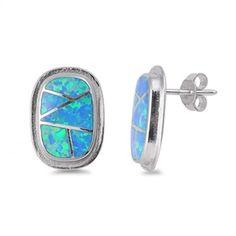 18mm Long Rectangle Solid Sterling Silver Blue Fiery Australian Opal Lab Crated Opal Stud Post Earrings Gift Blue Opal Jewelry