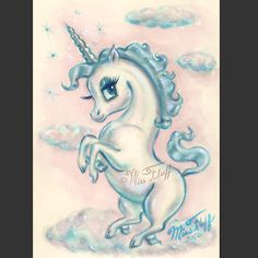 Baby Unicorn standing on a cloud. Original Art by Claudette Barjoud, a. Unicorn Tattoos, Mermaid Tattoos, Baby Unicorn, Unicorn Art, Magical Creatures, Beautiful Creatures, Miss Fluff, People Art, Fantastic Art