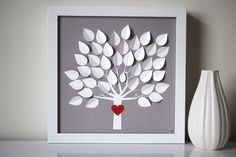 Wedding Guest Book Alternative - Personalized 3D Wedding Tree -  size XS (includes frame, instruction card and one pen). $75.00, via Etsy.