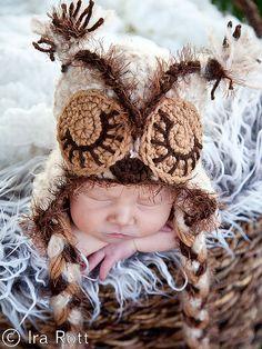 Mohair Handmade Crocheted Baby Owl Hat for boys