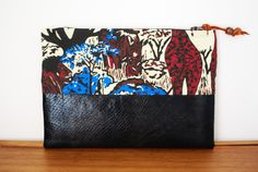 Jungle Inspired Glossy Black Vegan Leather Zipper Pouch by Singsthesparrow on Etsy