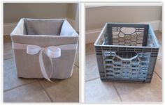 Sewing Fabric Storage Milk Crate Cover To Unique Storage . here is a tutorial to turn those old ugly milk crates in your garage or basement into something you can actually use in your home . Diy Storage, Storage Boxes, Milk Crate Storage Ideas, Fabric Storage, Bedroom Storage, Crate Crafts, Upcycled Crafts, Plastic Crates, Crate Cover