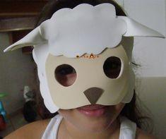 Fiz essa máscara de EVA, branco, cor da pele e marrom. Há um EVA que parece a lã das ovelhas, mas como faço para muitas crianças fiz com o ...
