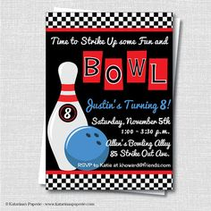 Bowling Invitation Birthday Party Red  Digital Or Print Yourself