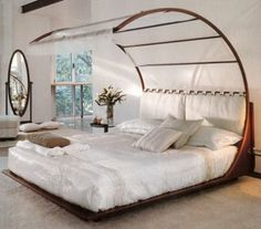 A wonderful bed designed by Mauro Bertame' along Feng Shui principles. The base of the bed is very low (Feng Shui recommendation); Home Design, Design Ideas, Design Concepts, Design Inspiration, Feng Shui Bett, Romantic Bedroom Decor, Bedroom Ideas, Bedroom Designs, Bed Designs
