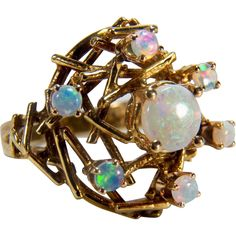 Vintage Opal Cluster 14K Yellow Gold Ring from thevelvetbox on Ruby Lane