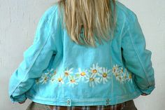By hand paint denim jacket hippie boho.Turquoise jeans.