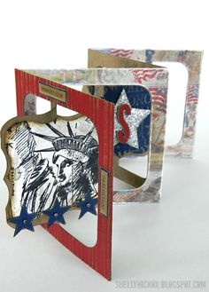 Stamptramp: Patriotic Accordion Card. Created using @Karen Burniston 's Accordion 3D die, plus dies and stamps from @Tim Holtz