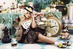 Emily Atak as a female Mad Hatter tea party photo shoot for the BBC benefit Children in Need. #celebrity #tea
