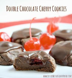 Double Chocolate Cherry Cookies ~~ Butter With A Side of Bread #recipe #cookies
