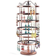 Copper Color Rotating Earring Holder / Earring Tree / Earring Oraganizer / Earring Stand / Earring Display with Free 10 Pairs Earring Safety Backs - Great Choice for Collection and A Birthday Gift (Rould) *** Details can be found by clicking on the image.