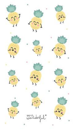 Cute little pineapple series Cute Wallpaper Backgrounds, Wallpaper Iphone Cute, Pretty Wallpapers, Screen Wallpaper, Cool Wallpaper, Pattern Wallpaper, Mr Wonderful, Wallpaper Fofos, Pineapple Wallpaper