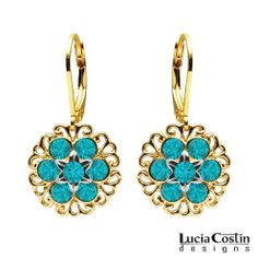 Lucia Costin Dangle Flower Earrings Crafted in 24K Yellow Gold Plated over .925 Sterling Silver with Turquoise - Green Swarovski Crystals Surrounded by Filigree Elements, Crafted with Star Shaped Center Flowers Lucia Costin. $49.00. Unique jewelry handmade in USA. Flowers and fancy ornaments beautifully combined. Beautifully crafted with blue - green Swarovski crystals. Lucia Costin flower shaped drop earrings. Mesmerizing enough to wear on special occasions, but durable en...