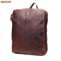 83.60$  Watch more here  - Genuine Leather Women's Backpack Crazy Horse Cow Leather Women Shoulder Bag Vintage Alligator Travel Backpacks