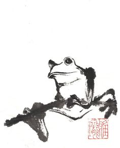A printed blank card of my original illustration comes with a white envelope. Artwork Subject: Frog on a branch  Artwork Description: the frog