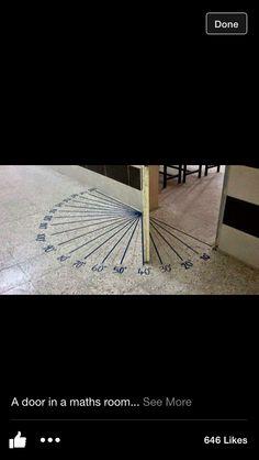 A door in a math room from We are Teachers. 21st Century Schools, We Are Teachers, Bath Girls, Classroom Door, Classroom Ideas, Sundial, Math Concepts, 4th Grade Math, Teaching Math