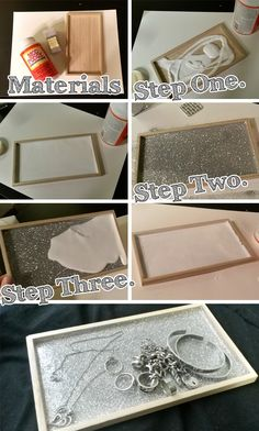 With just three supplies (and about $5-8) I was about to make an adorable glittered tray to hold my jewelry! This project is SO easy and can be done with so many different items as well. Be sure to add a pop of color, sparkle, or shimmer to your room with this easy DIY tutorial: Supplies: Wooden Tray; Modge Podge; Fine glitter; Paint brush (optional); Paint (optional) Step One: Pour Modge Podge (or white glue) in the bottom of your tray and make sure it covers the entire tray. (If you…