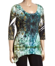 Another great find on #zulily! Blue & Yellow Crystal Sublimation Handkerchief Top - Plus #zulilyfinds