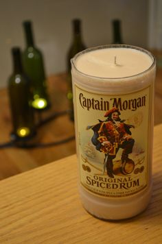 Recycled Captain Morgan Bottle Soy Candle// CLEAR by NuancesOfAmor