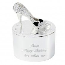 Lovely trinket box with shoe on the lid. Personalise with up to 3 lines of text. Silver plated with a cream flocked lining inside. http://www.middletonwood.co.uk/