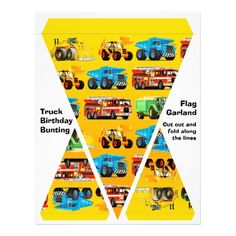 Truck Birthday Flag Garland / Bunting Custom Flyer for a truck themed kid's birthday party from Paul Stickland's TruckStore. #truckstore #trucks #kidsparty #kids #birthday