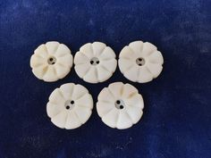 Five Antique Carved Pearl Buttons Etched Natural Pearl Natural Shell