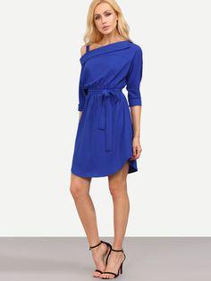 Royal Blue Tie Waist One Shoulder Dress