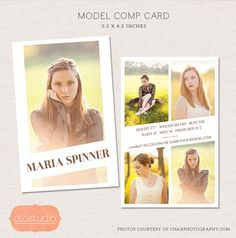 50% verkoop Model Comp kaart Photoshop template - redactionele chique CM002 - Instant downloaden