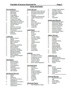 FREE Genealogy Research Sources Checklist to Break Down Brick Walls A checklist for sources searched pg 2 of 2 - original author unknown Free Genealogy Sites, Genealogy Forms, Genealogy Chart, Genealogy Research, Family Genealogy, Family Tree Research, Family Tree Chart, Family Trees, Genealogy Organization