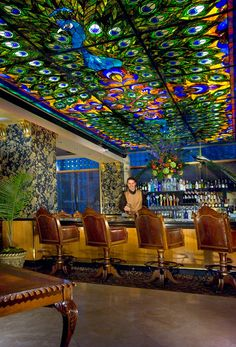 Stained Glass Ceiling~The Peacock Lounge. Davenport Hotel, Spokane WA