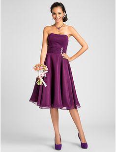 A-line Strapless Knee-length Chiffon Bridesmaid Dress - USD $ 96.99