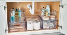 11 Genius Ideas to Up Your Under-the-Sink Storage Game Bathroom Sink Organization, Sink Organizer, Bathroom Storage, Home Organization, Bathroom Ideas, Bathroom Cupboards, Bathroom Things, Bathroom Inspo, Design Bathroom