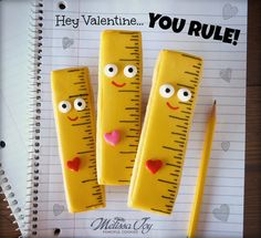 Ruler Cookies for classroom treats - You Rule, Valentine! - by Melissa Joy Cookies
